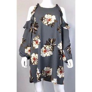 Umgee Gray Floral Tunic Dress Medium or Large